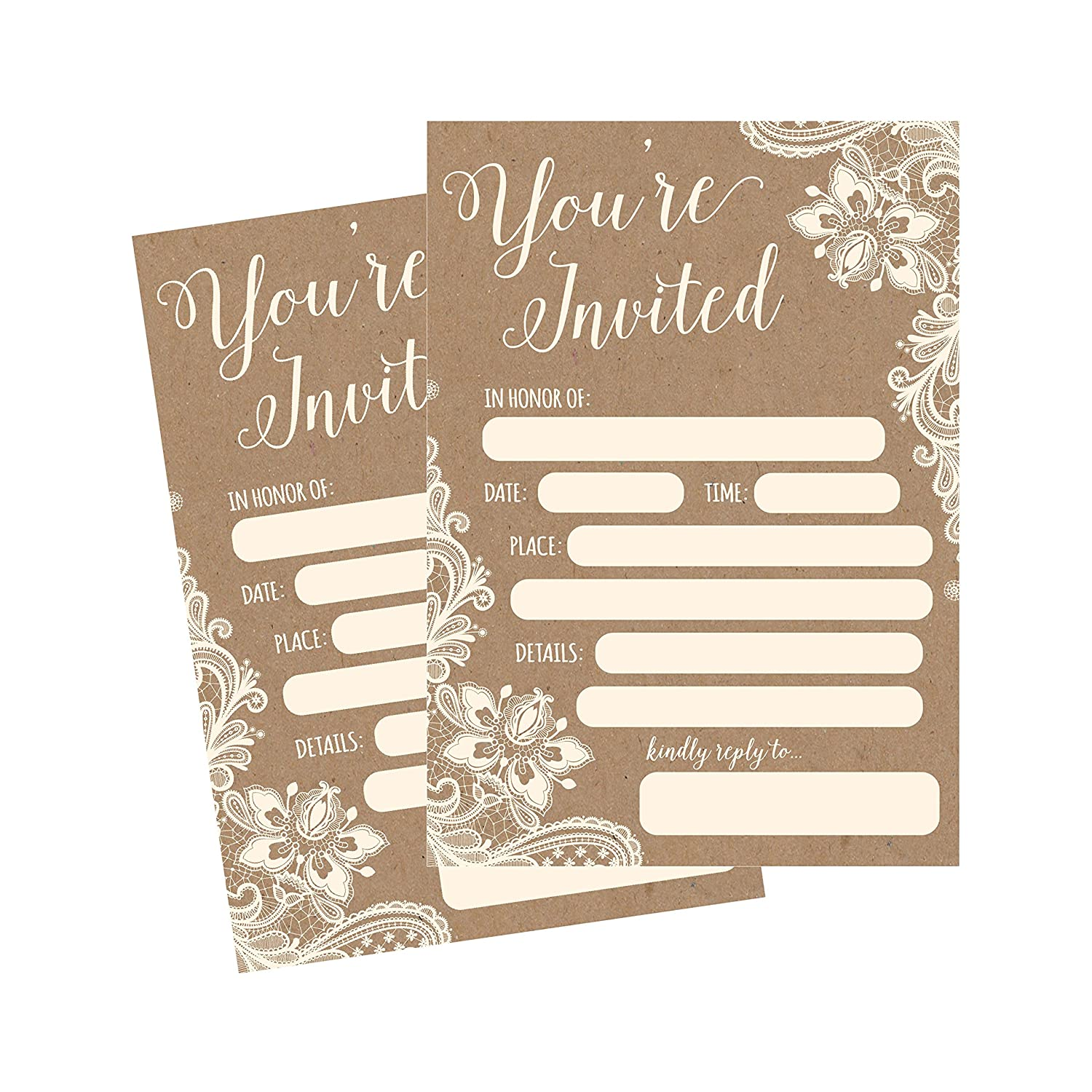 Amazon 50 Fill In Invitations Burlap And Lace Kraft Wedding