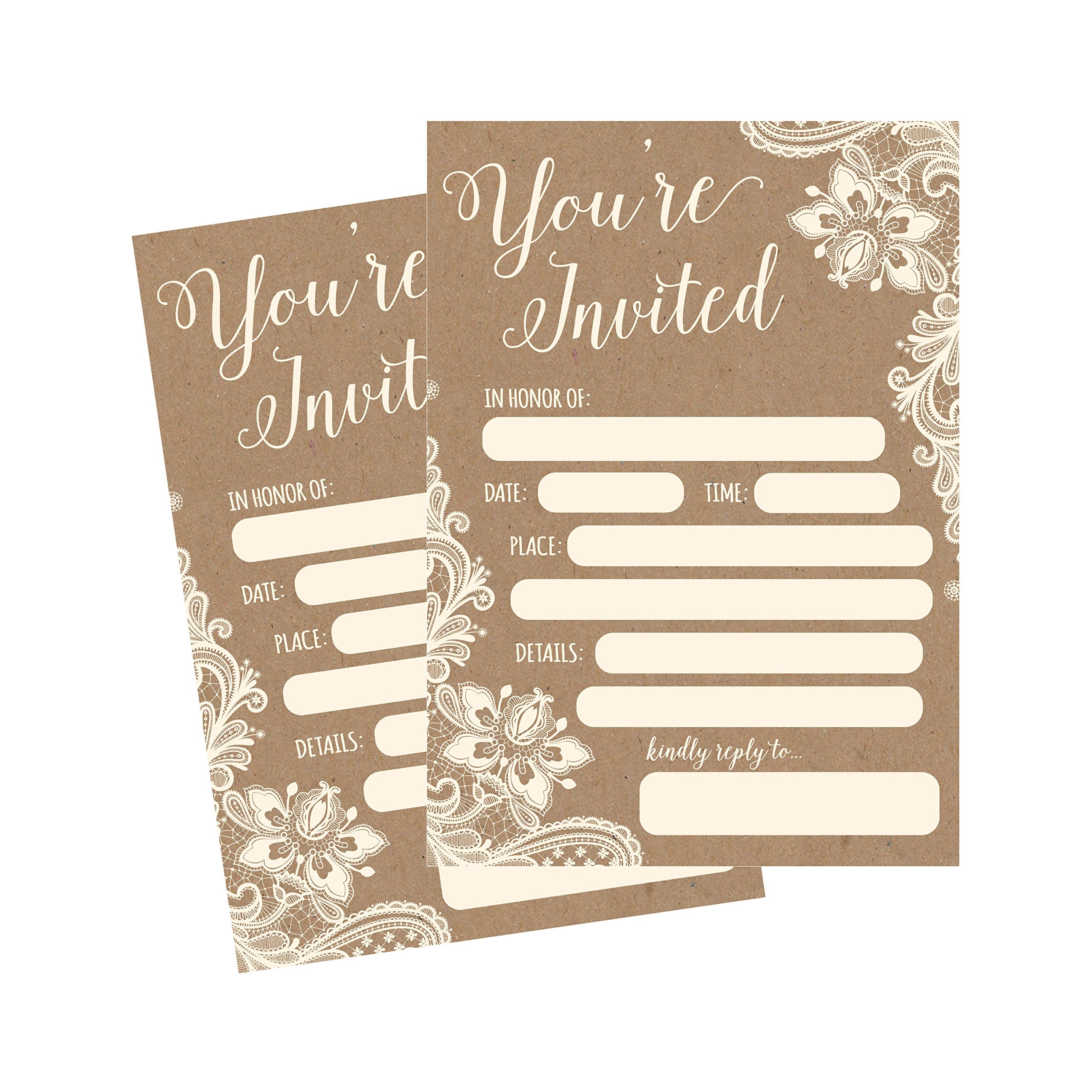 50 Fill In Invitations, Burlap and Lace, Kraft, Wedding Invitations, Bridal Shower Invitations, Rehearsal Dinner, Dinner Invites, Baby Shower Invite, Bachelorette Party Invites, Engagement, Graduation