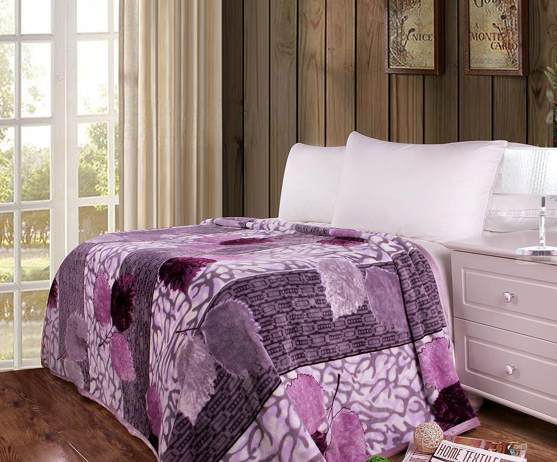 DaDa Bedding Soft Warm Orchid Blossoms Print Fleece Flannel Throw Blanket, Floral Purple Lavender
