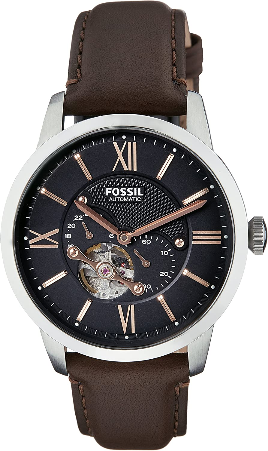 Fossil Men s ME3061 Townsman Mechanical Stainless Steel Watch with Brown Leather Band