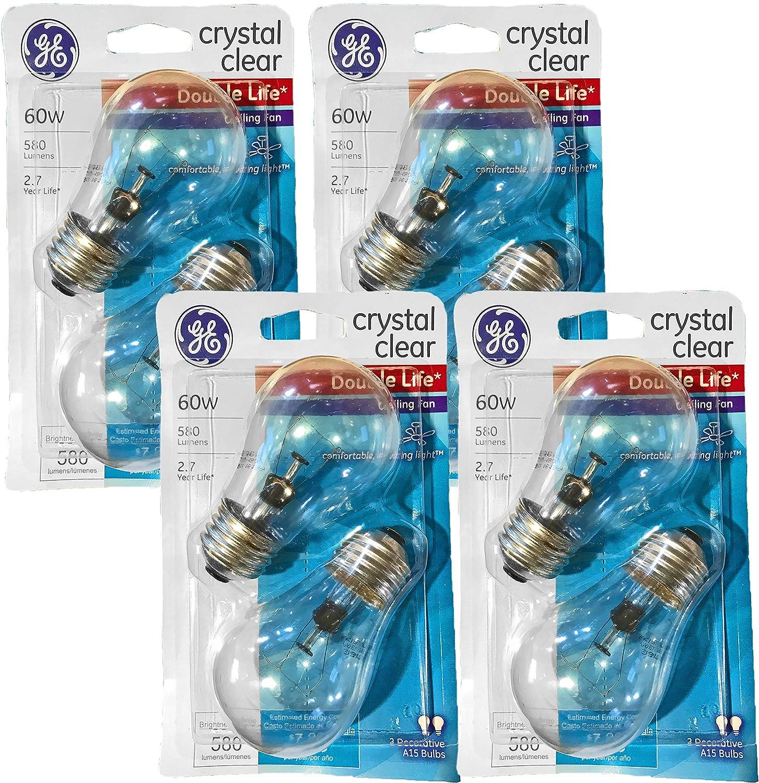 580 Lumens Crystal Clear Ceiling Fan Light Bulbs 8 Bulbs GE Double Life 60-Watt