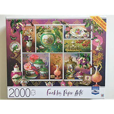 Finchley Paper Arts Pink and Aqua China 2000 Piece Puzzle: Toys & Games
