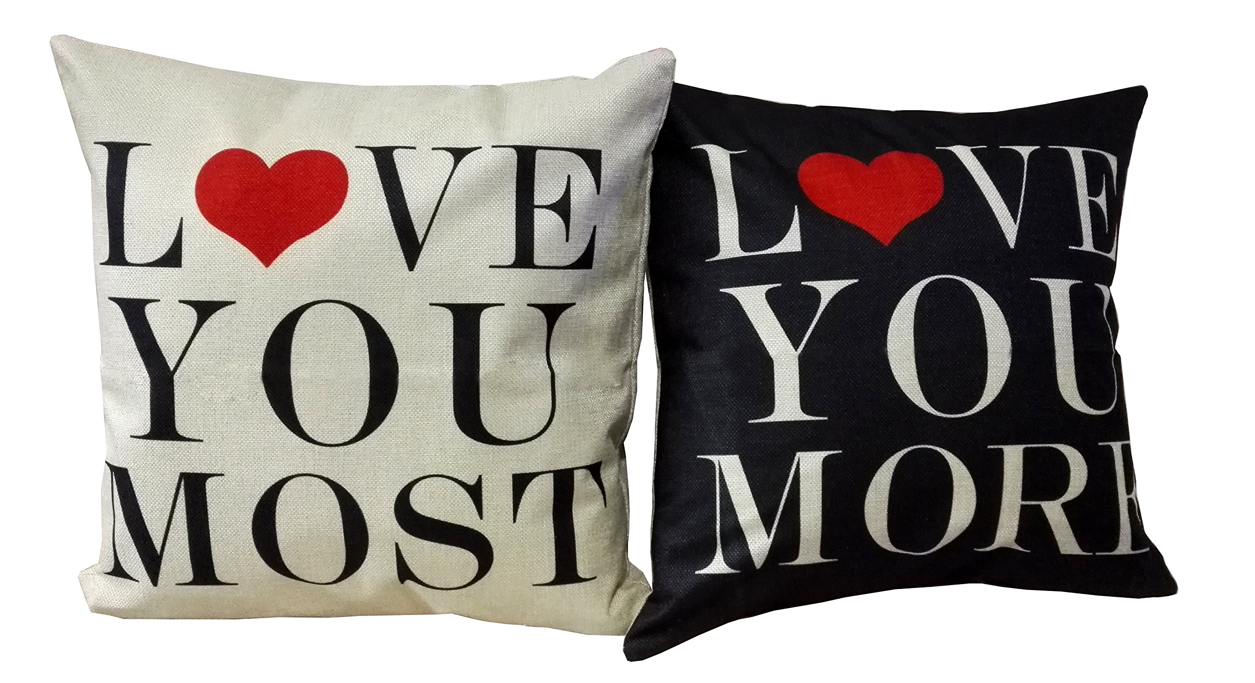 Wenmei Light Linen Square Decorative Throw Pillow Case Cushion Cover Throw Pillows Set of 2 --- Love You More & Love You Most18in X 18in One Side Printed