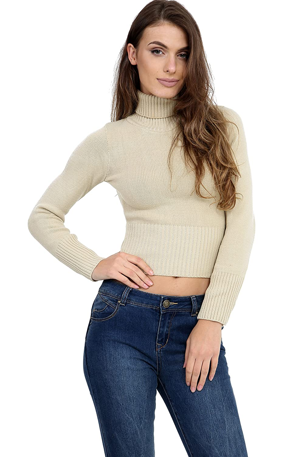 NEW WOMENS LADIES LONG SLEEVE RIB PATTERN HIGH POLO NECK KNITTED CROP JUMPER TOP