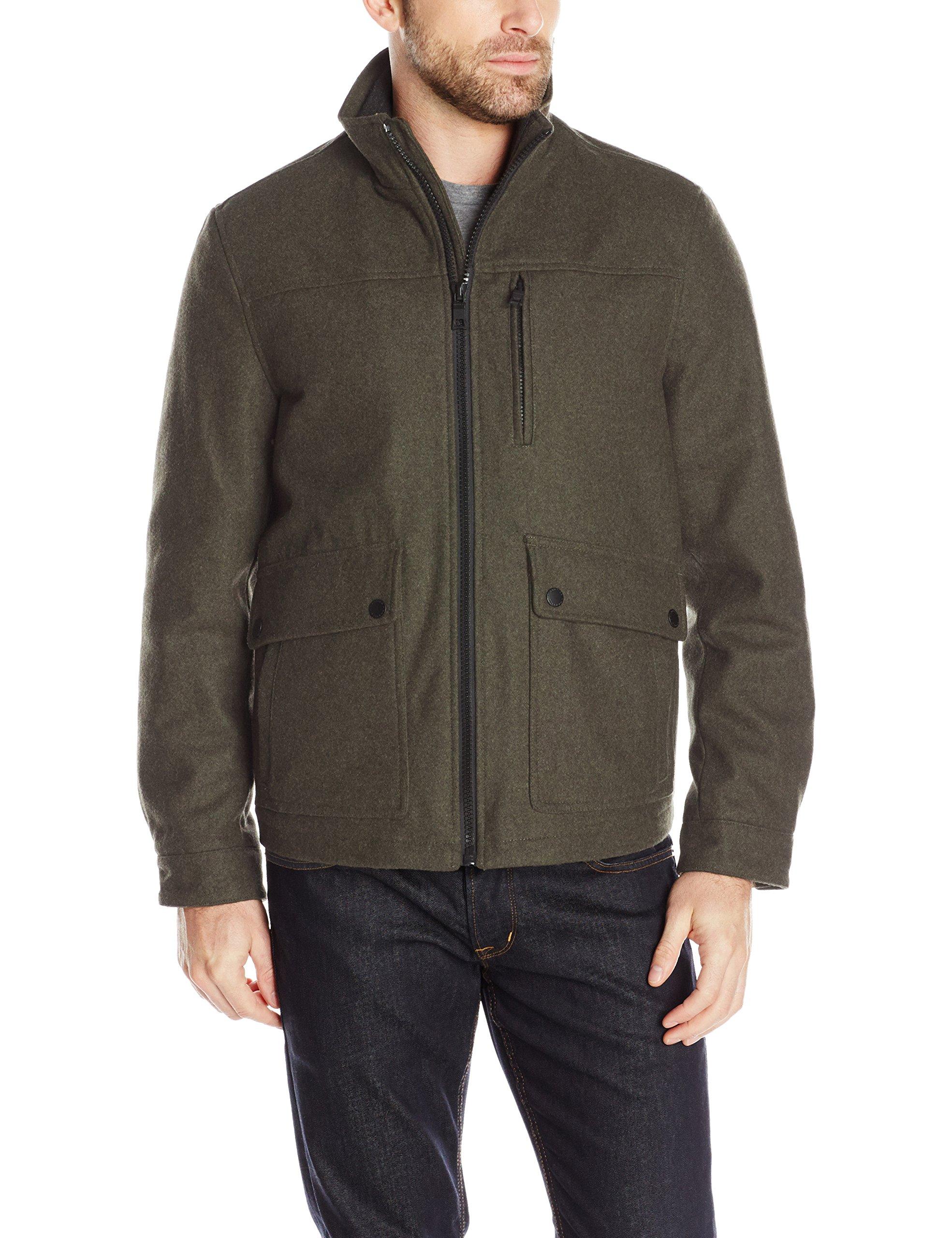 Nautica Men's Wool Melton Jacket, Loden, M