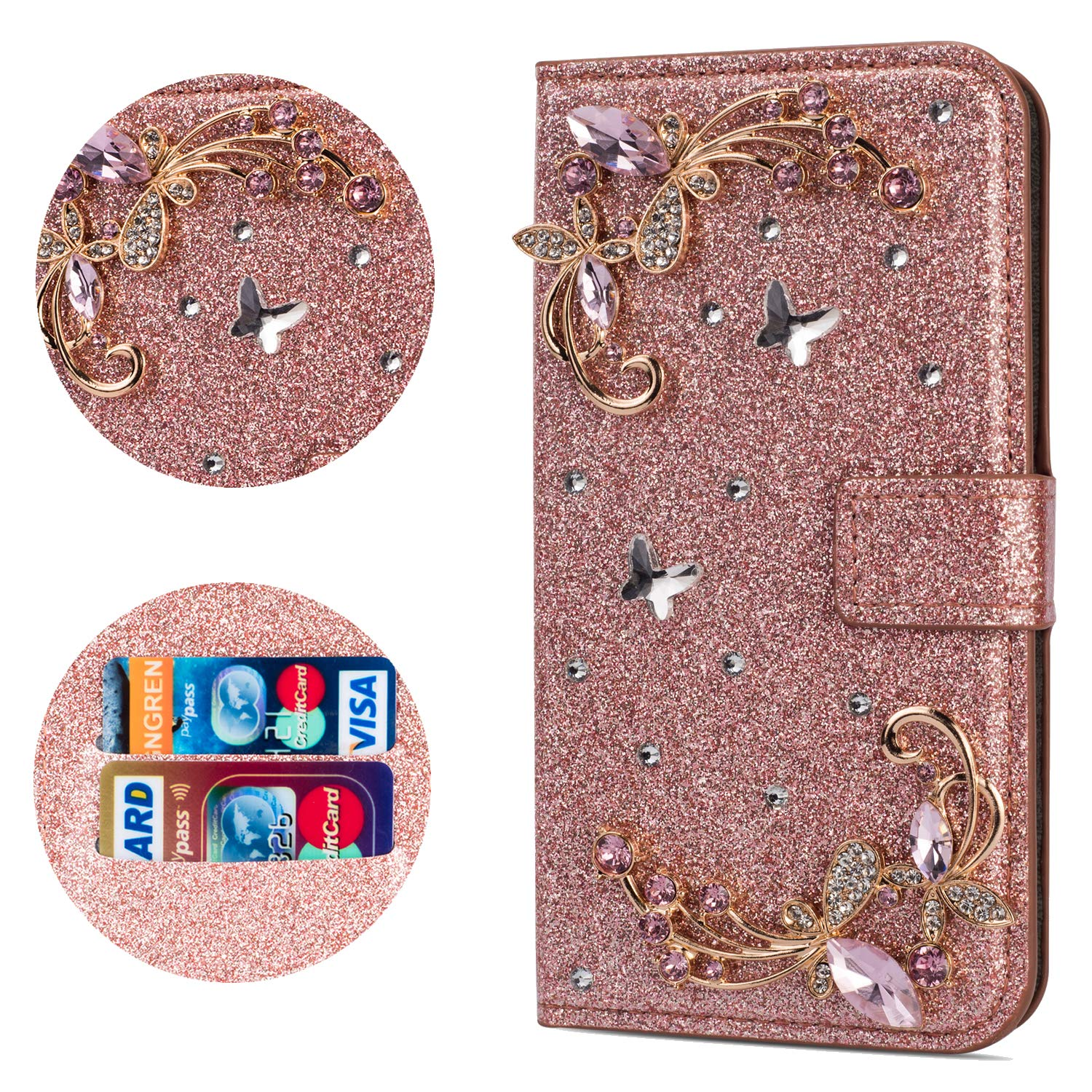Stysen Flip Case for Galaxy A8 Plus 2018,Leather Cover with 3D Handmade Crystal Diamonds Butterfly Glitter Floral Wallet Magnetic Clasp for Samsung Galaxy A8 Plus 2018 by Stysen