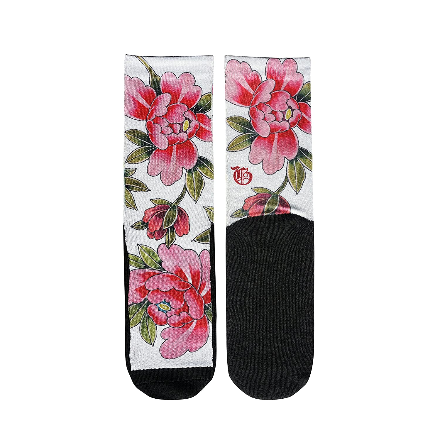 11c196bd6c0f3 Amazon.com: Gold Ink Novelty Elite Socks Gift With Floral Tattoo Art Print  Size 6-12: Home & Kitchen