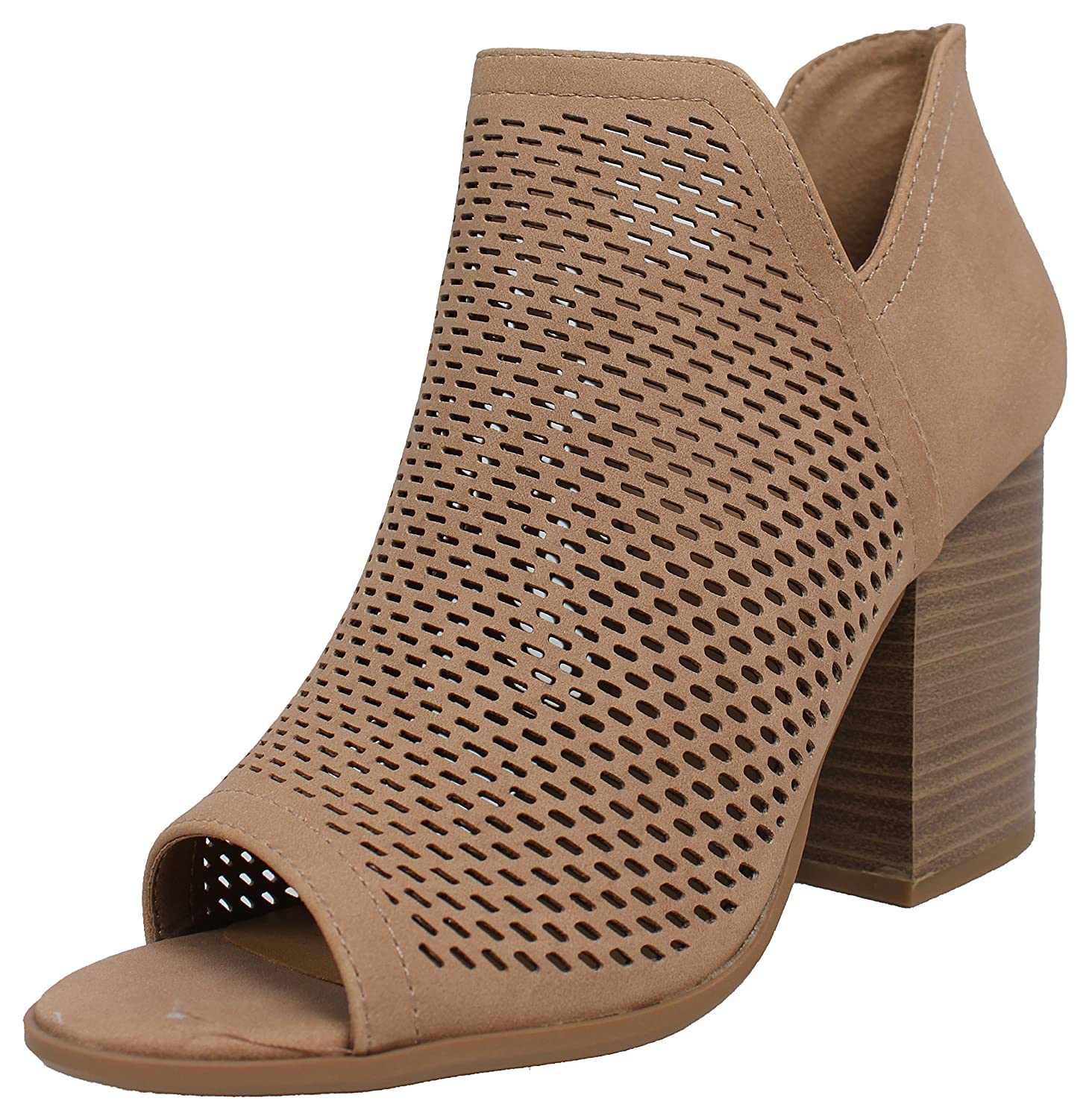 Soda Women's Open Toe Perforated Stacked Block Heel Ankle Bootie B078J7Z3Z6 9 B(M) US|Natural