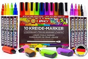 iFancy Premium Kreidestifte 10er-Set Bunte Farben - 3mm Rundspitze - 50% MEHR TINTE! - Abwischbar Ungiftig & Staubfrei Kreide