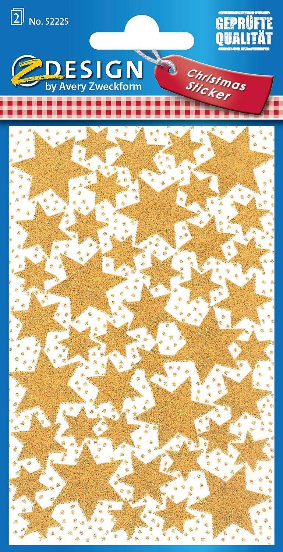 Avery Zweckform Etiketten Aufkleber Sticker Weihnachtssterne gold 36 Stück Deko