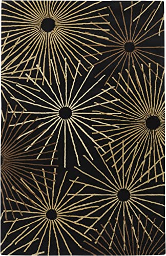 Surya Forum FM-7090 Contemporary Hand Tufted 100 Wool Coal Black 4' Square Geometric Area Rug