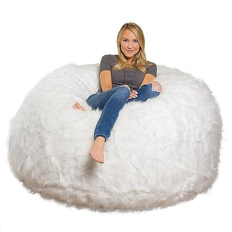Sensational Comfy Sacks 6 Ft Memory Foam Bean Bag Chair White Furry Creativecarmelina Interior Chair Design Creativecarmelinacom