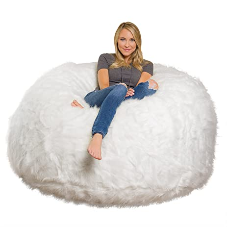 Comfy Sacks 6 Ft Memory Foam Bean Bag Chair White Furry