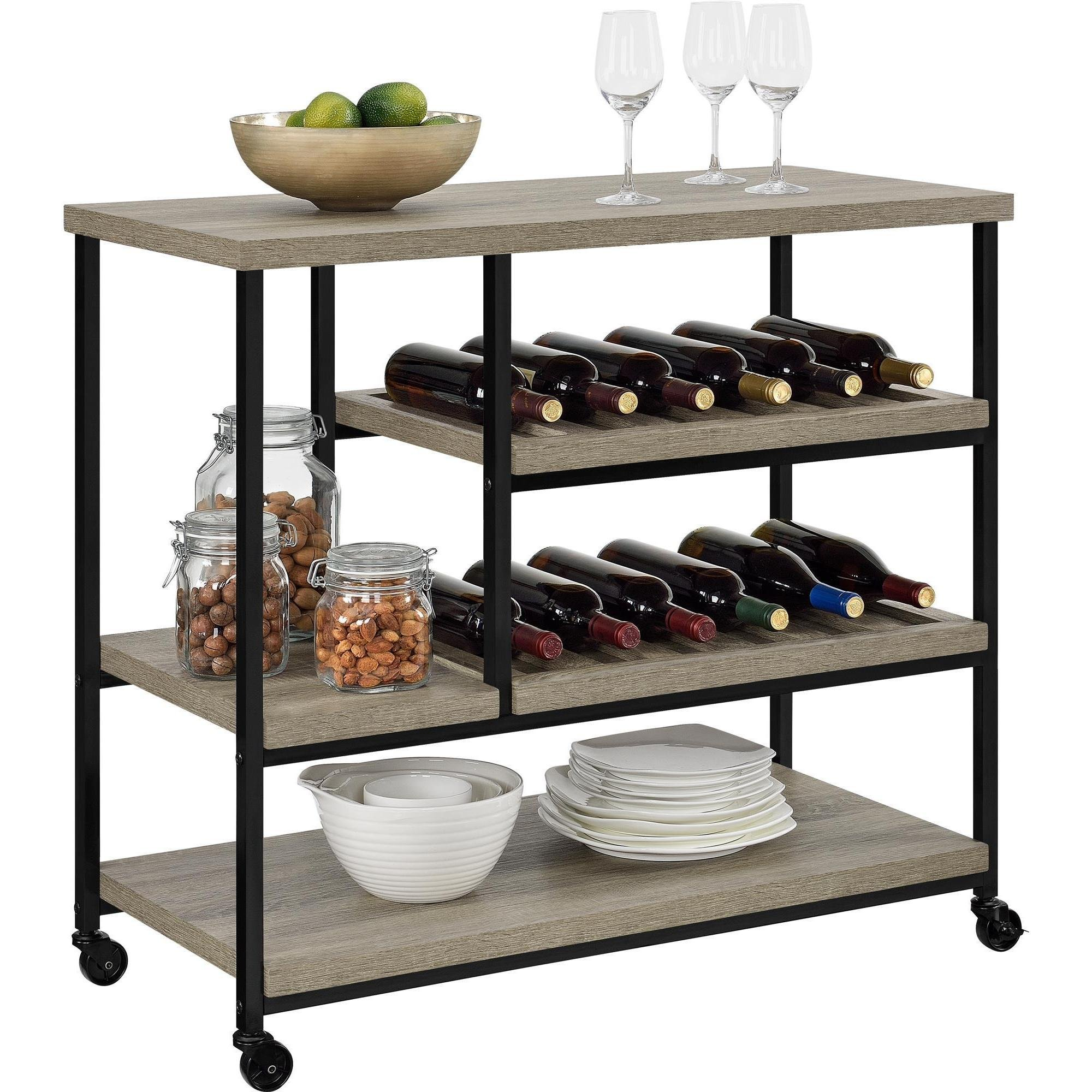 Modern Style Multi Purpose Kitchen Bar Wine Storage Rolling Cart Wooden Top with Black Metal Base | 2 Large Shelves, 2 Medium Shelves, 1 Small Shelf, Oak Finish - Includes Modhaus Living Pen