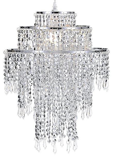 Waneway Large 3 Tiers Chrome Sparkling Beads Pendant Shade, Ceiling ...