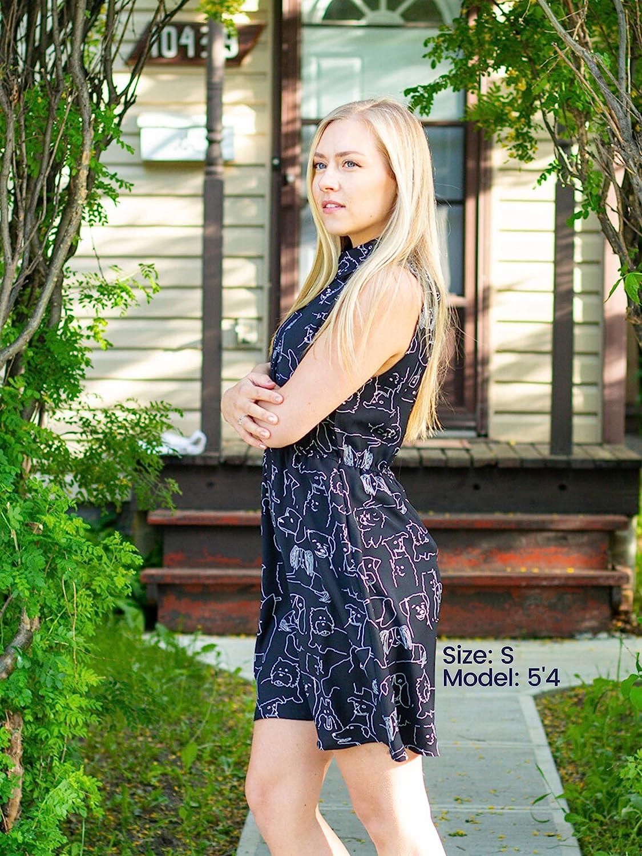 LaVieLente Customized Sleeveless FoxRaccoon Shirt Dress with Stretchable Waist Design