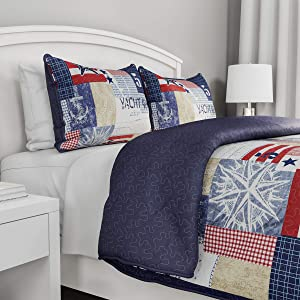 3-Piece Quilt Set – Nautical Americana Patchwork Print All-Season Soft Microfiber Bedspread with Shams - Bedding by LHC (Full/Queen)