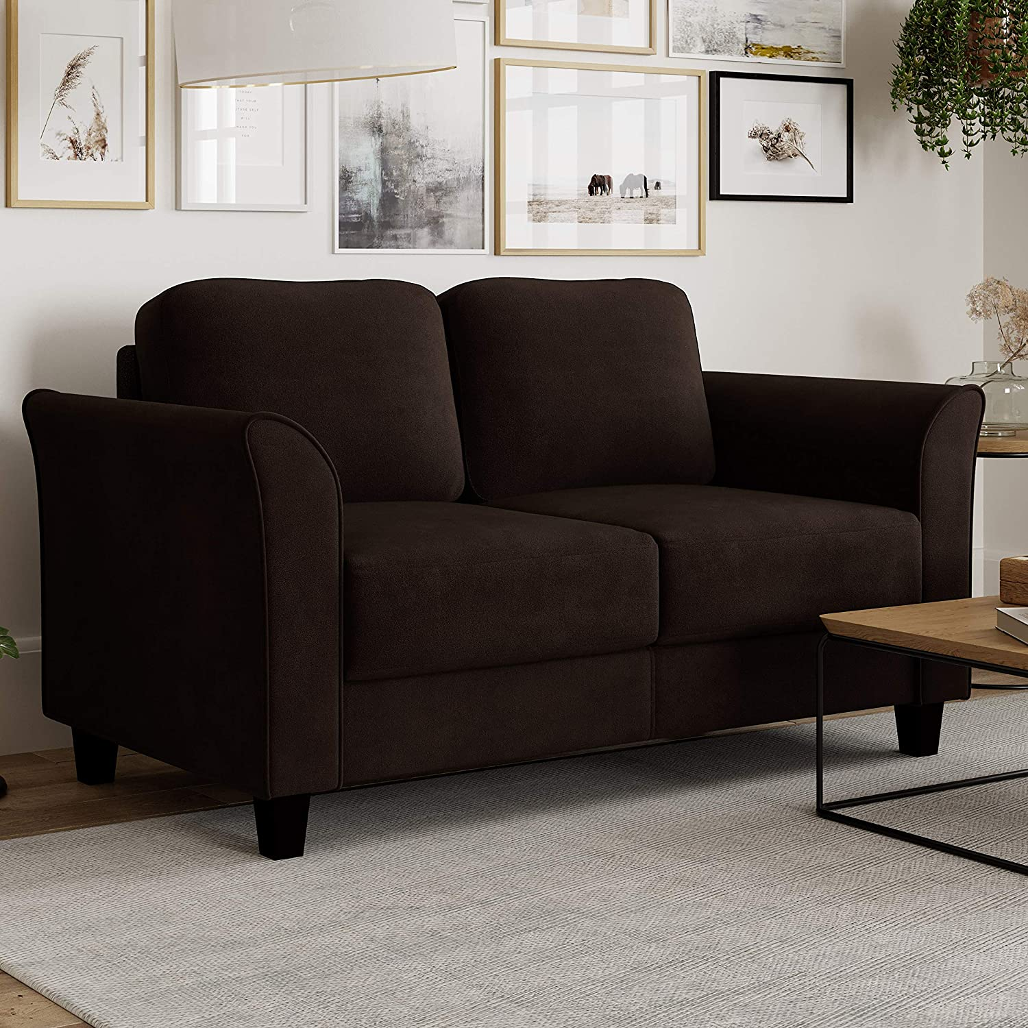 Lifestyle Solutions Watford Loveseat, Small Couch for Living Room, Bedroom, or Office Decor, Minimalist and Modern Couch Designed for Maximum Comfort, Coffee
