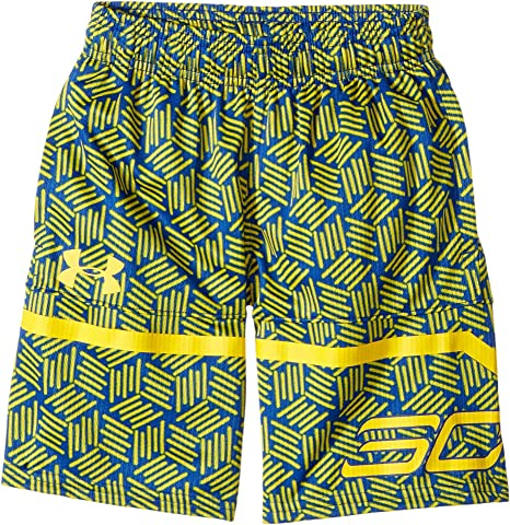 02779fdcde8 Amazon.com   Under Armour Kids Boy s Steph Curry 30 Printed Spear Shorts  (Big Kids) Royal Taxi Shorts   Sports   Outdoors