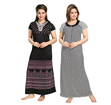 f1073bb8e0 TUCUTE Women Girls Beautiful Solid Color with Floral Design 1594 + Black-n-White  Line Print Nighty Night Gown Night Dress Nightwear (Free Size) Offer (Pack  ...
