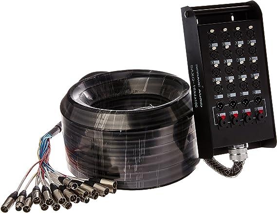 Seismic Audio – saxq-16 X 4 X 100 – 16 canales 100 XLR Cable de serpiente con 4 XLR y 1/4