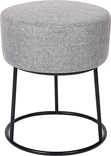 BIRDROCK HOME Grey Linen Foot Stool Ottoman Soft Compact Round Padded Seat
