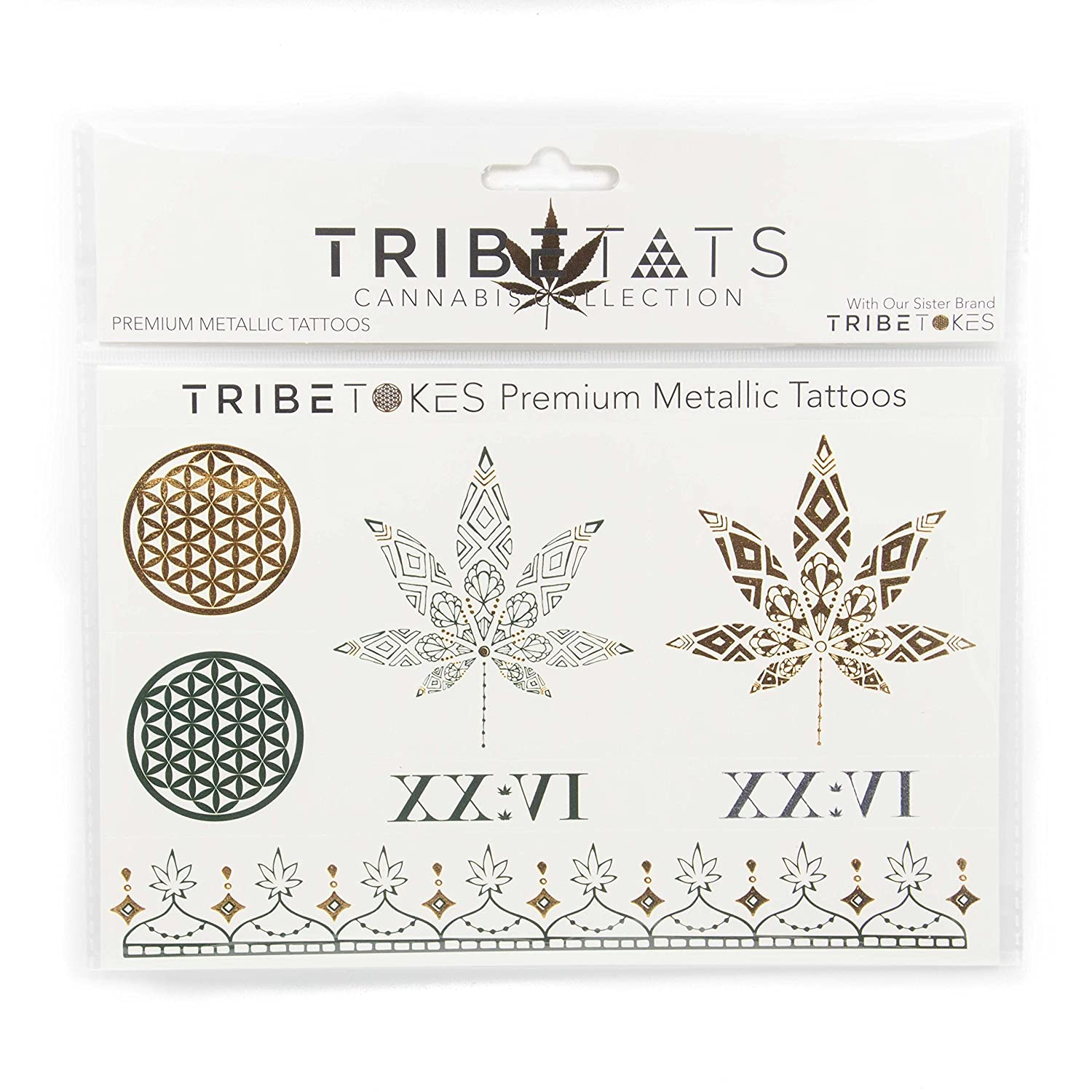 The Counter Culture Collection - Pot Leaf Metallic Temporary Tats by  TribeTats - Stoner Girl Gifts - Gold &