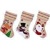 Calza di Natale in iuta 35x 27cm con cute Rudolph, Santa o neve- 1casuale