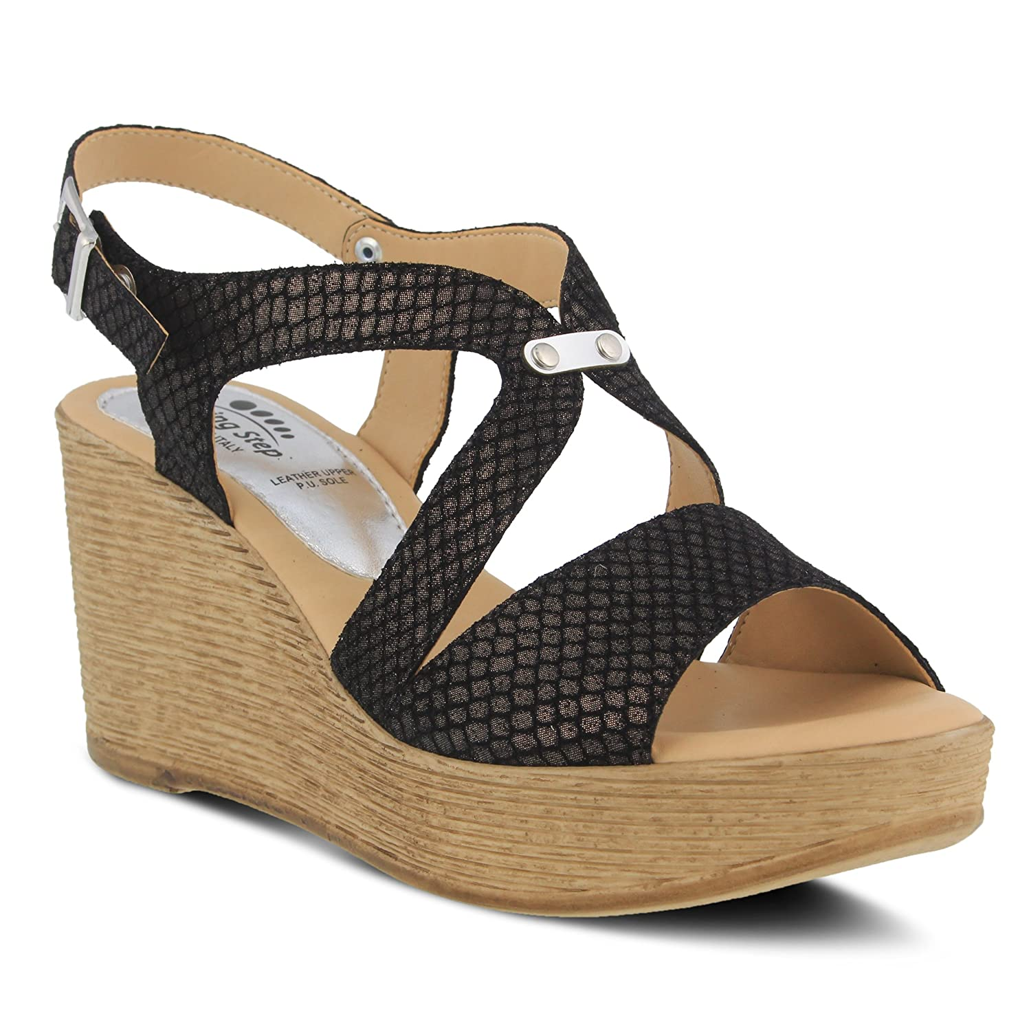 Spring Step Women's Nevena Wedge Sandal B079SJQCBG 35 M EU (US 5 US)|Black