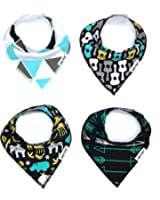 """Baby Bandana Drool Bibs for Drooling and Teething 4 Pack Perfect Baby Shower Baby Registry Gift Set For Boys """"Wild Child Set"""""""