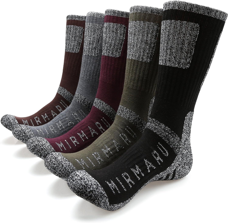 MIRMARU Men's 5 Pairs Multi Performance Outdoor Sports Hiking Trekking Crew Socks