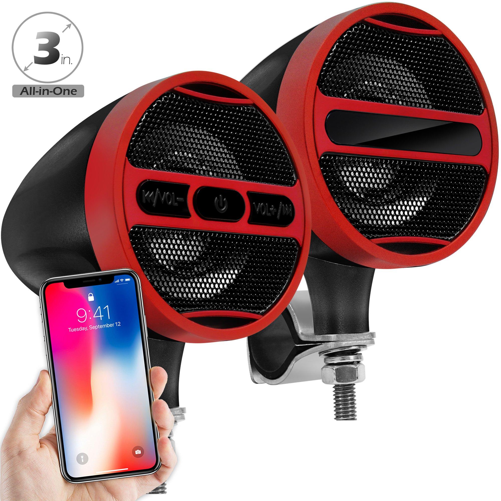 GoldenHawk Waterproof Bluetooth Wireless Motorcycle Stereo Speakers 7/8-1.25 in. Handlebar Mount MP3 Music Player Audio Amplifier System Scooter Bike ATV UTV, USB, FM Radio (Satin Red Black)