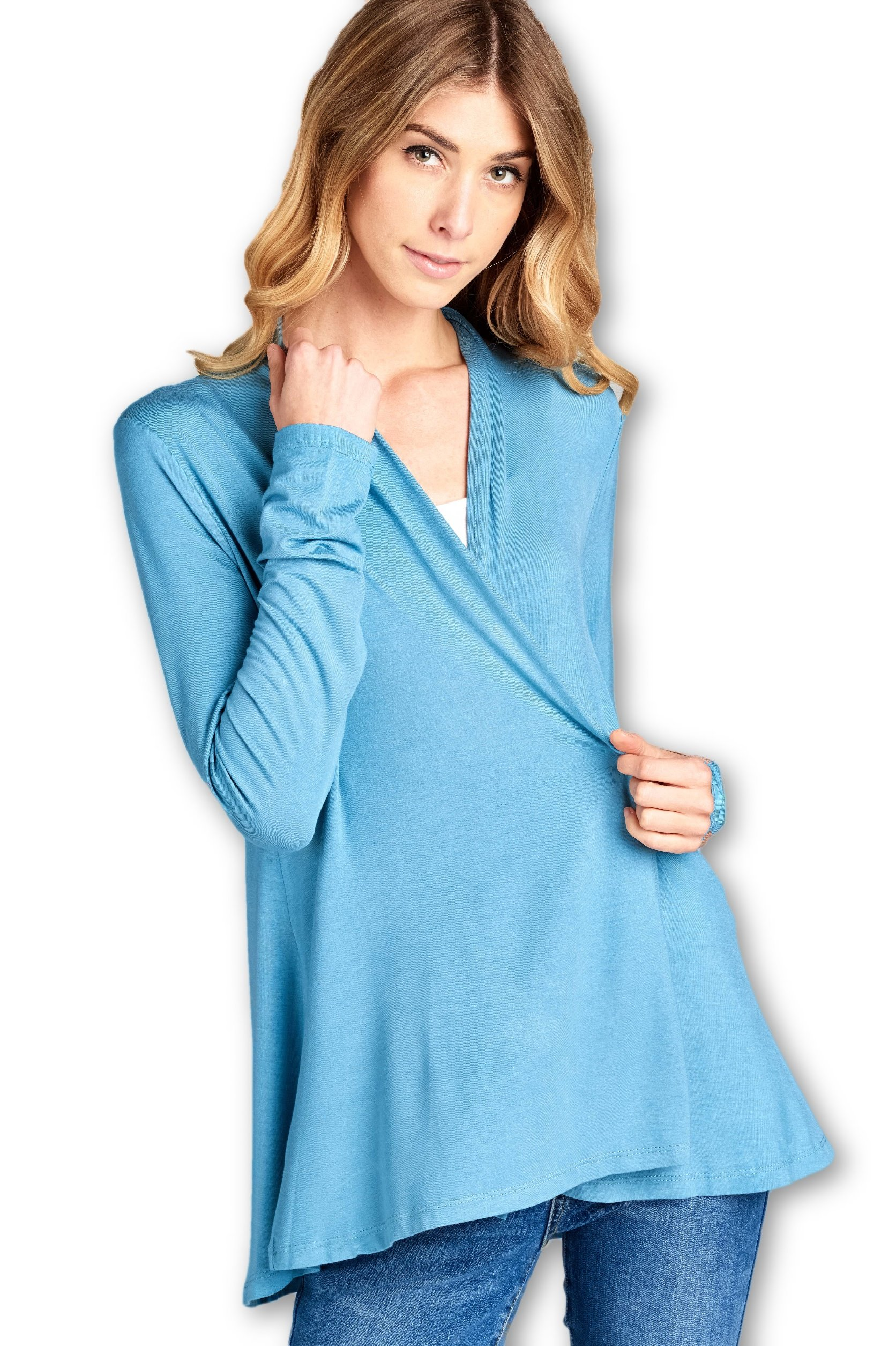 ReneeC. Women's Extra Soft Natural Bamboo Open Front Cardigan - Made in USA (Large, Blue Glass)