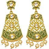 Bindhani Bollywood Style Pearl Drop Indian Meenakari Chandbali Kundan Gold Plated Earrings For Women