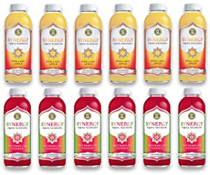 LUV BOX-Variety GT's KOMBUCHA Synergy Kombucha Pack,16 fl oz,12 pk,Pink Lady Apple , Watermelon Wonder