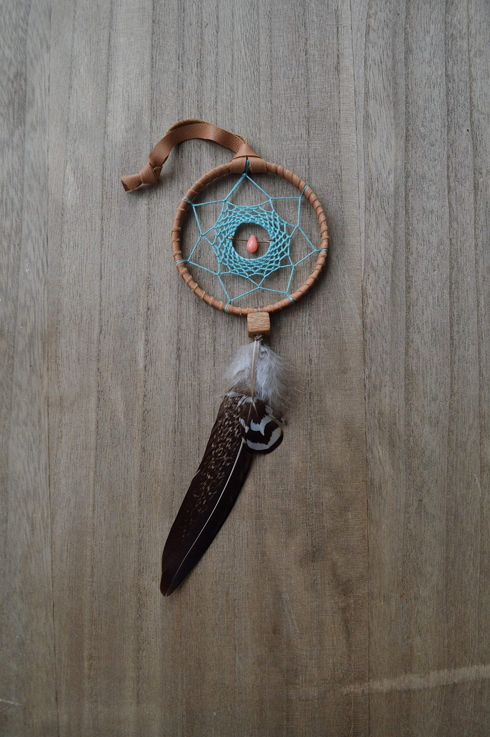 Native American Car Mirror Feather Dream Catcher Amulet Handmade