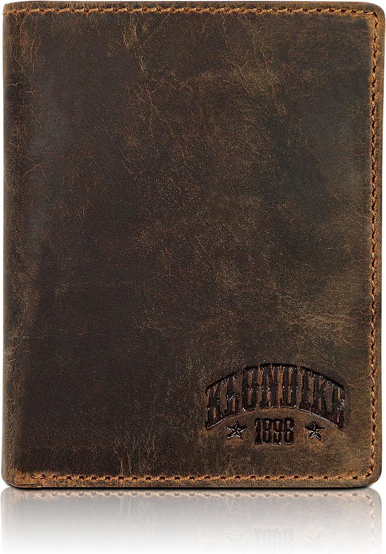 Klondike 1896 'Evan' Carteras Hombre con Monedero, Cartera Hombre Piel en Formato Vertical - Marrón