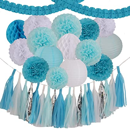 Amazoncom 35 Pieces Blue Light Blue White Tissue Pom Poms Flower