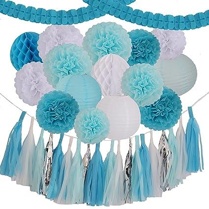 Amazon 35 Pieces Blue Light Blue White Tissue Pom Poms Flower
