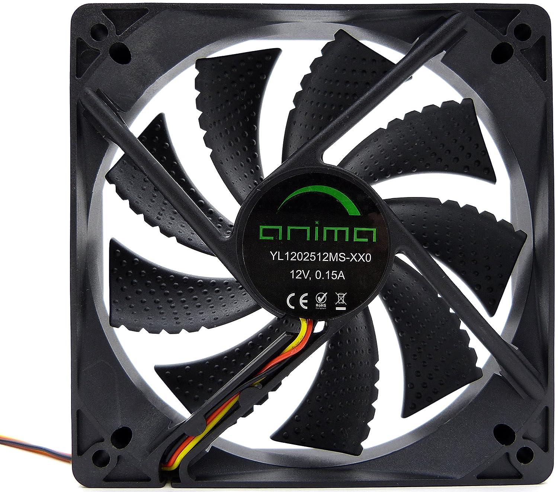 Anima AF12 - Ventilador para ordenador (ecológico y silencioso, 50.000 horas de funcionamiento, 12 cm, 9 aspas), color negro: Amazon.es: Industria, empresas y ciencia