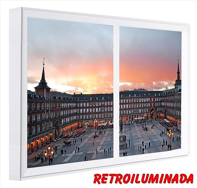 RETROILUMINADOS. CUADROS VENTANAS FALSA PLAZA MAYOR MADRID (60_x_80_cms., BLANCO): Amazon.es: Hogar