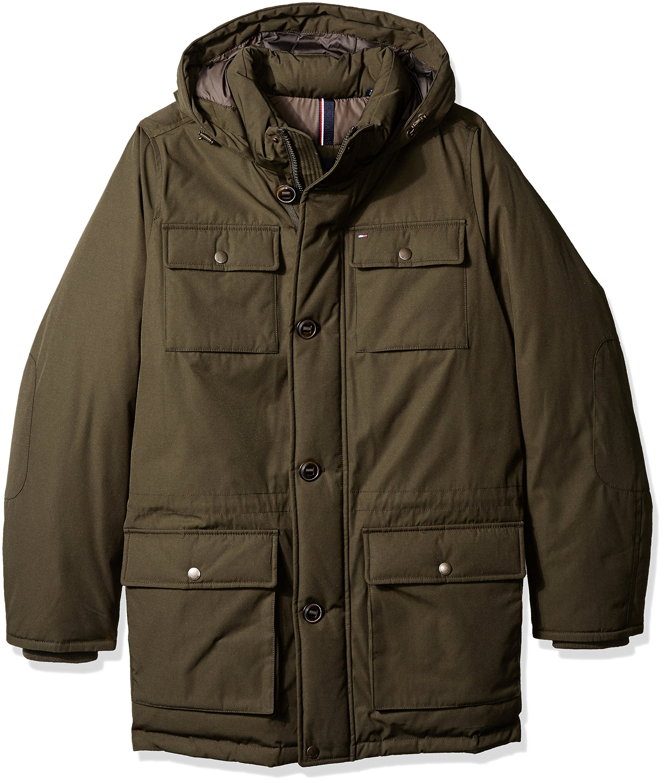 Tommy Hilfiger Men's Tall Size Performance Hooded Field Coat, Dark Forest, Long/Tall