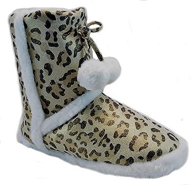 5d6c88ecb05d Amazon.com | Womens Fur Bootie Slippers Metallic Glitter Animal Print |  Boots