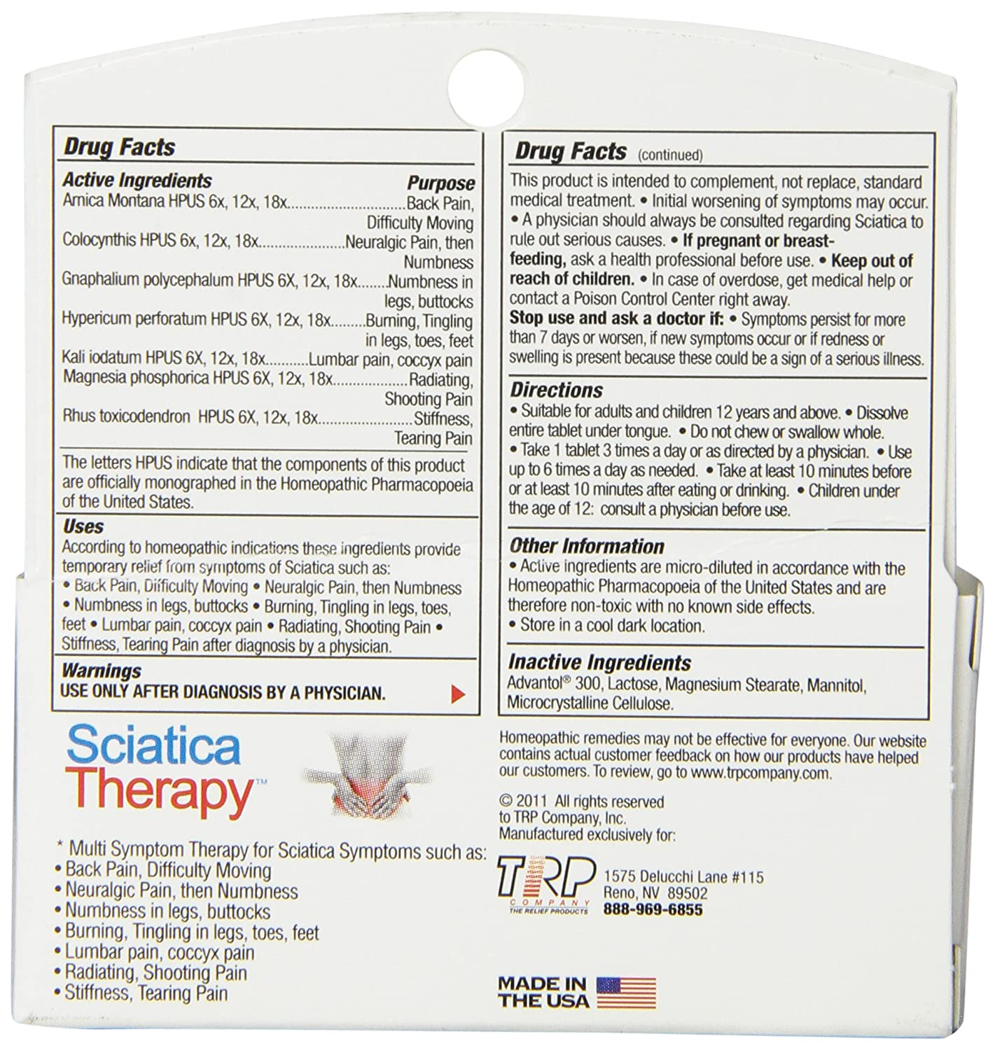 Colour therapy for sciatica - Amazon Com The Relief Products Sciatica Therapy Fast Dissolving Tablets 70 Count Health Personal Care
