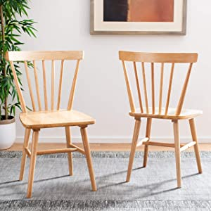 Safavieh Home Winona Farmhouse Natural Spindle Back Dining Chair, Set of 2