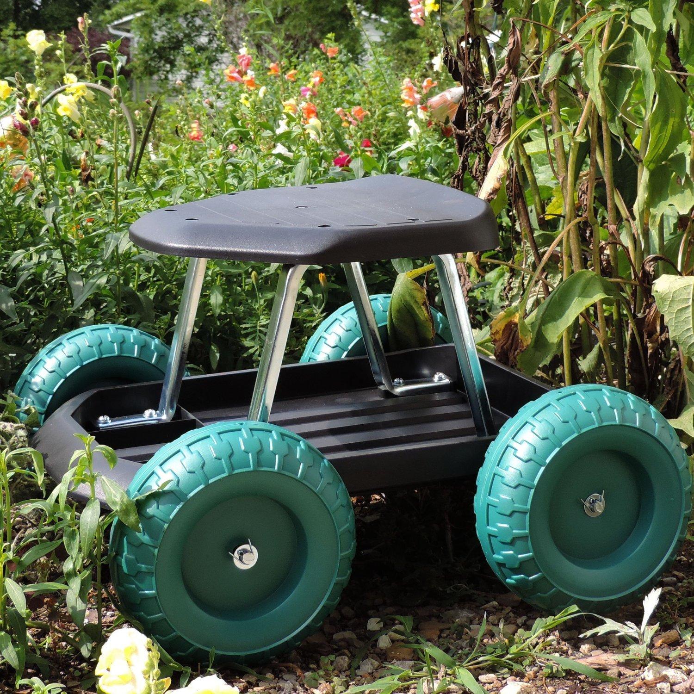 seat kneeling stool garden scooter tech with pin work cart wheels rolling gardening on