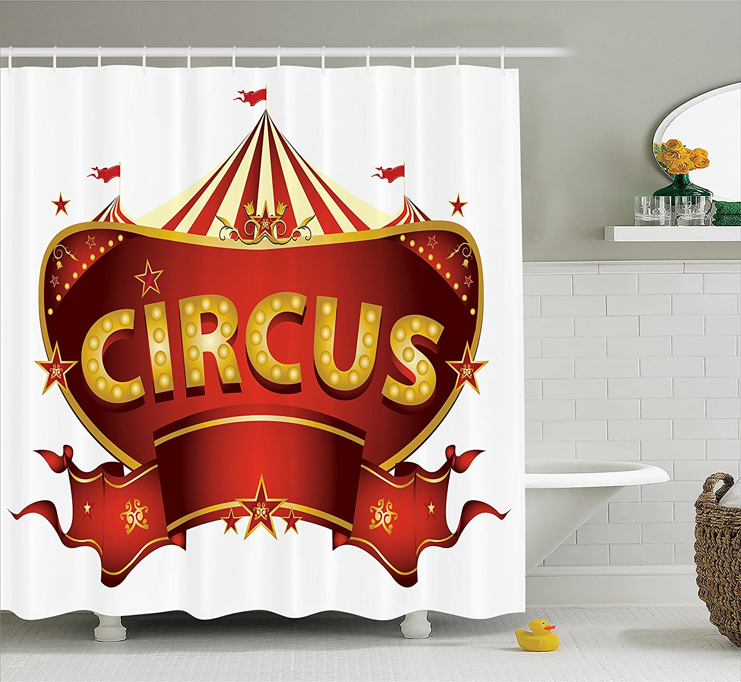 Ambesonne Circus Shower Curtain A Sign Baroque Style Big Top Enjoyment Theme Marquee Nightlife Retro Fabric Bathroom Decor Set With Hooks