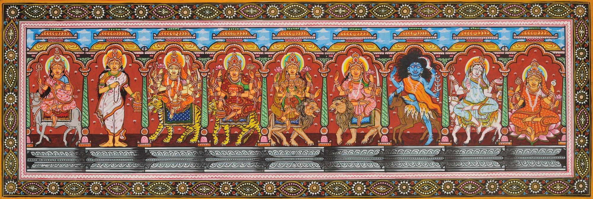 The Ten Mahavidyas - Water Color Painting on Patti - Folk Art From The Temple Town Puri (Orissa)
