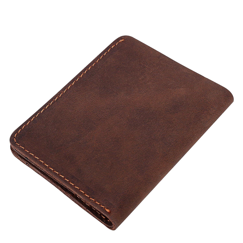 Cartera Cuero Hombre Artesanal Piel Auténtica Estilo Retro Elegante Billetera Monedero Delgada
