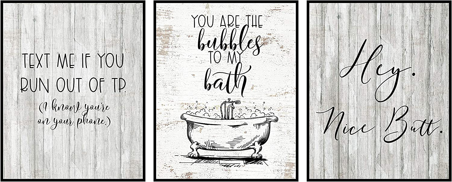 Silly Goose Gifts Bathroom Themed Decor Art Print Wall Art Funny Gift Sets Typography Rustic Unframed Pictures Signs Rules (Nice Butt)